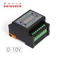 Dmx303 dmx512 a 0-10 v conversor de sinal  saída 3 ch  com display de tubo digital  escudo preto  0-10 v dimmer driver
