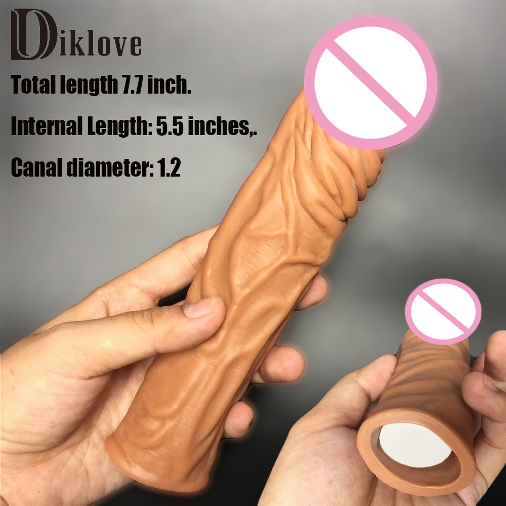 19.5cm L Brown sex products for man realistic penis sleeves enlargement adult sex toys solid head extend condom penis extender increase 60 100mm super long soft penis extender sleeve enlargement reusable condoms adult sex toys for men cock sleeve condom