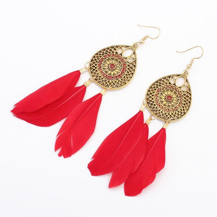 Bohemian style feather fringe earrings,Jewelry & Accessories Fashion Jewelry Earrings, Dangle Earrings,Girl's gift