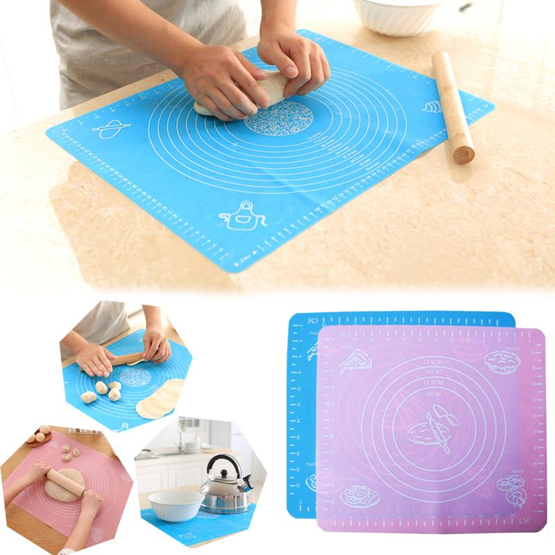 safety silicone pastry mat pad cake dough cutting cooking fondant sheet bakeware cookware baking. Black Bedroom Furniture Sets. Home Design Ideas