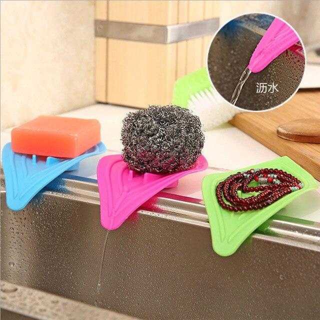 3pcs Leaf design soap dish with non-slip ring soap box drainer sponge holder drain storage rack organizer kitchen accessories