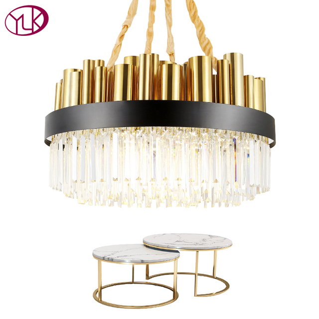 Youlaike Gold Polished Steel LED Chandelier Living Room Dining Room Crystal Lamp Luxury Modern Lighting Fixtures Round Luminaria