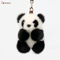 Free Shipping Real Mink Fur Pompom Panda Keychain Handmade Pendant Fur Panda Women Bag Pendant Toy Cars Adorable Plush Keychain