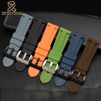 silicone rubber watch strap 24mm sport watchband 22mm wristband bracelet waterproof accessories belt wristwatches band