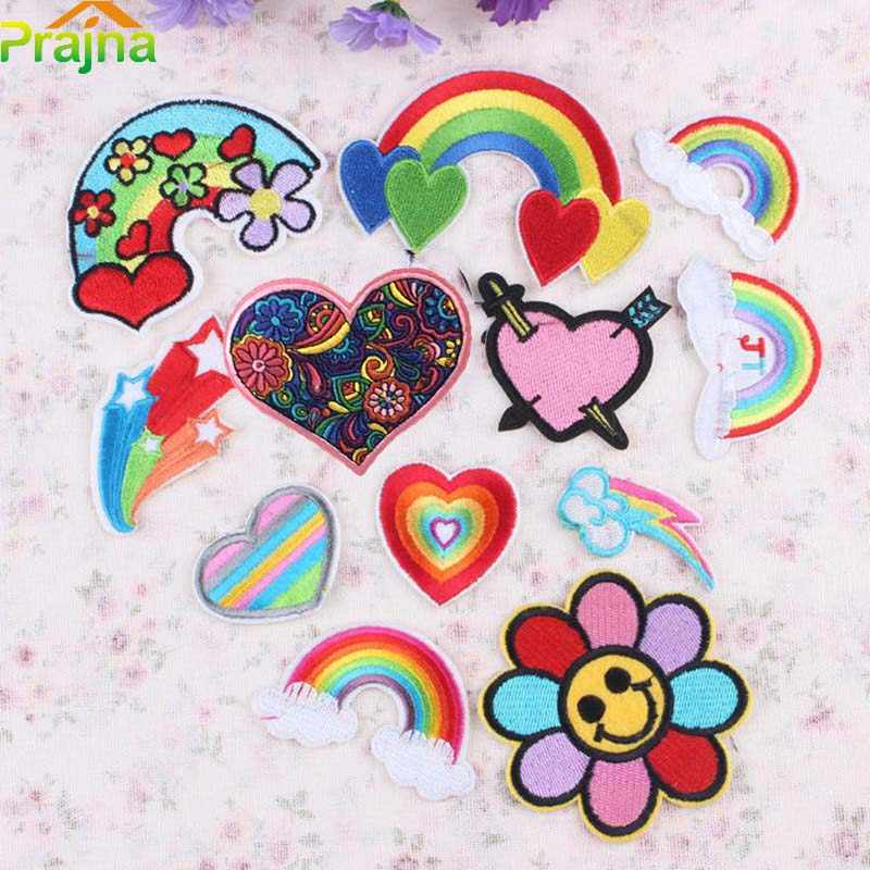 Prajna Rainbow Star Heart Patch Jeans Embroidered Patches Cartoon Iron On Patches For Clothes Stripes Sewing Patch Jeans