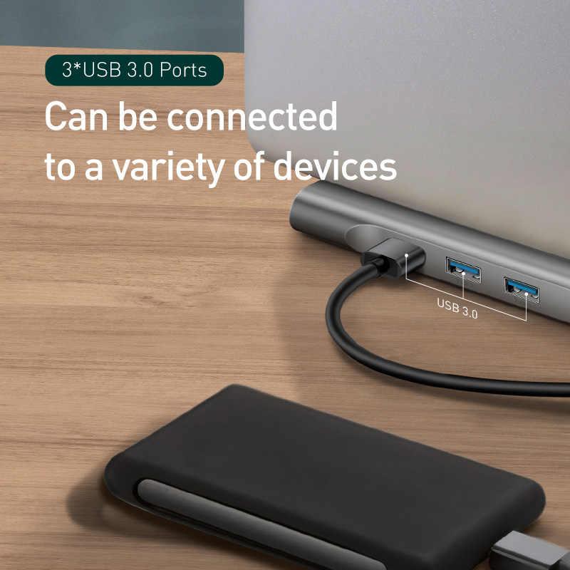 Baseus USB نوع C محور إلى 3.0 USB HDMI RJ45 USB محور لجهاز كمبيوتر ماك بوك برو اكسسوارات USB الخائن متعددة 11 منافذ نوع C محور USB-C محور