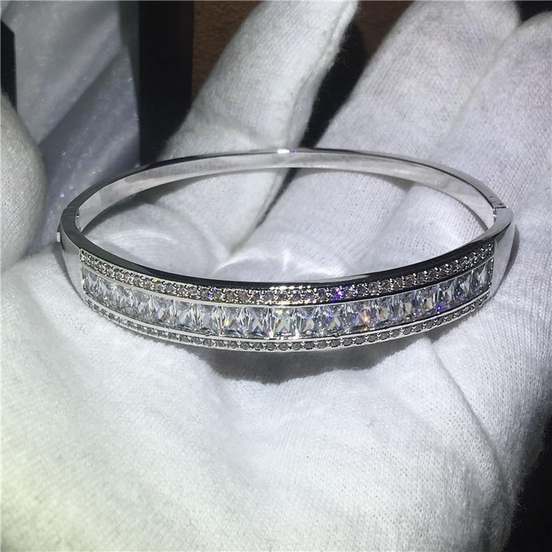 Fashion Bangle 5A cubic zirconia T shape stone Baguette bracelet White Gold Filled Bangles for women wedding accessaries