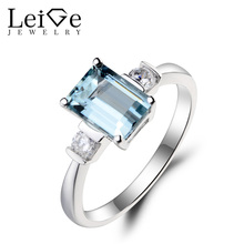 Украшения leige Природный Аквамарин кольцо обручальное кольцо изумрудная огранка Синий драгоценный камень для родившихся в марте 925 пробы серебро для Для женщин