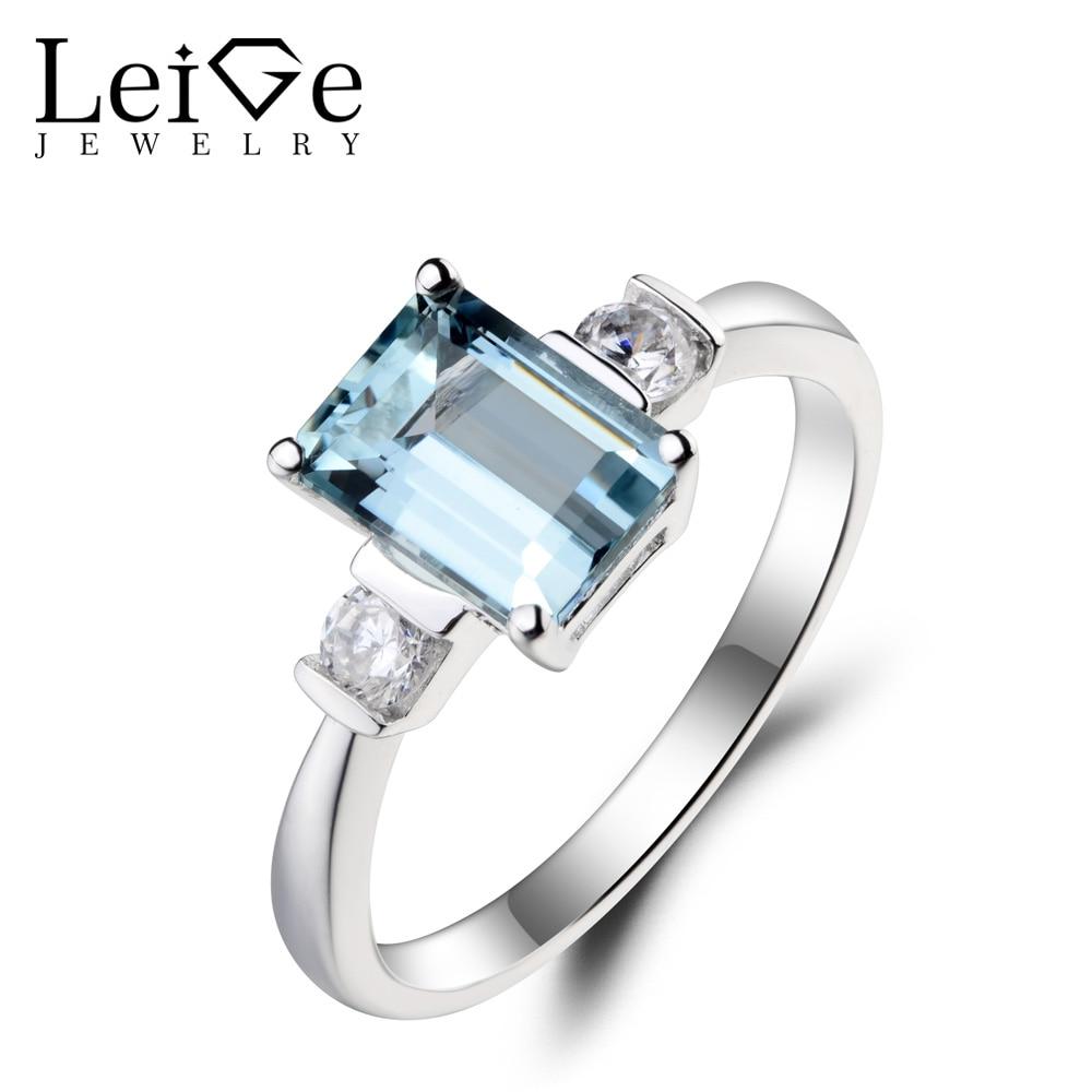 Leige Jewelry Natural Aquamarine Ring Wedding Ring Emerald Cut Blue Gemstone March Birthstone 925 Sterling Silver for Women