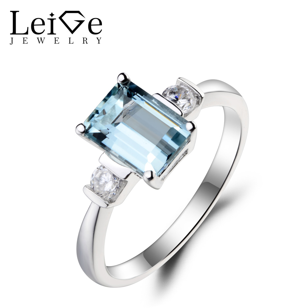 Leige Jewelry Natural Aquamarine Ring Wedding Ring Emerald Cut Blue Gemstone March Birthstone 925 Sterling Silver for Women