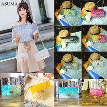 Fashion Clear Colorful Transparent Jelly Bag Gradient Candy Color Crossbody Bags Designed Ladies Shoulder Chain Messenger