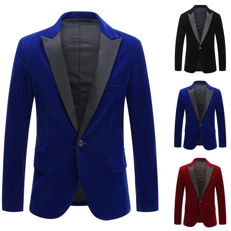 Oeak 2019 Hot Autumn Winter Men Blazer Jackets Vintage Velvet Suit Jackets Wedding Groom  Slim Fit Blazer Terno Masculino