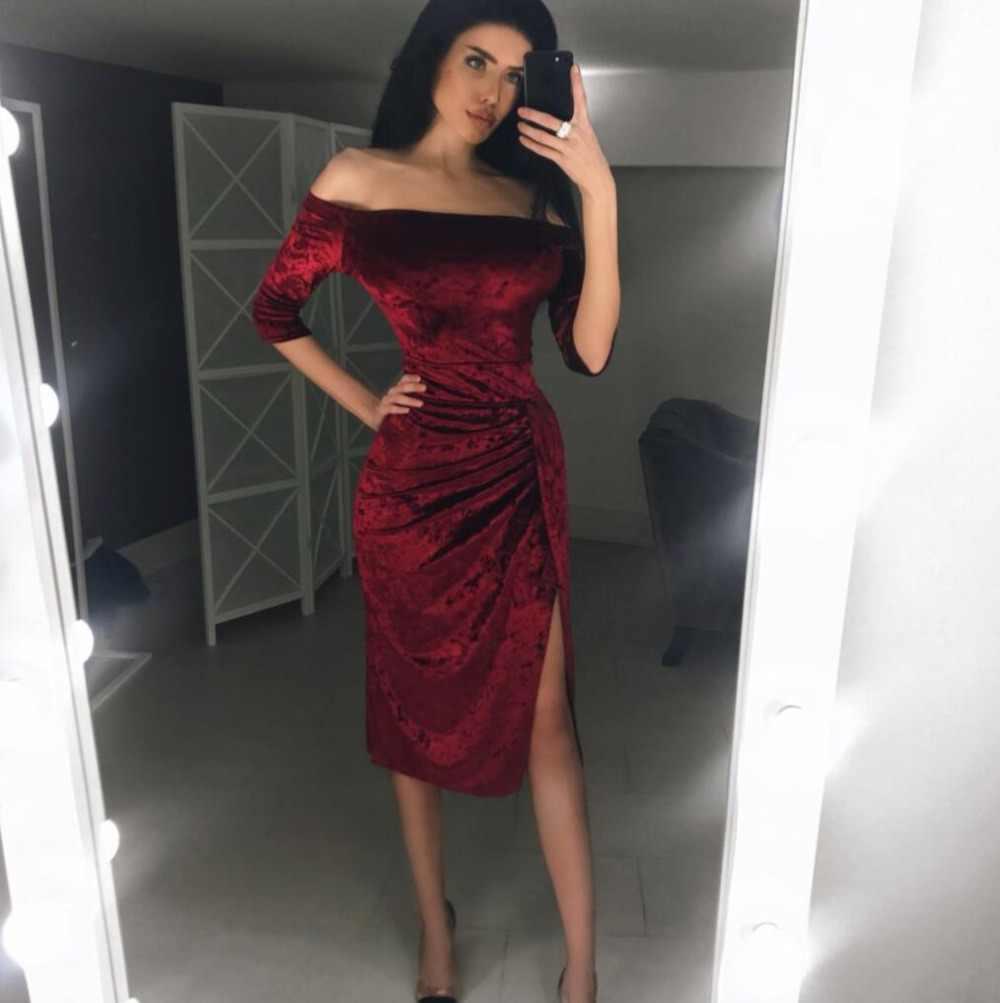 8df668cabe303 New Fall Fashion dresses vestido dress women red Slit shoulder off sexy  party club velvet vintage elegant dress vestidos woman