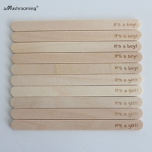 Popsicle-Sticks Cakesicle Wood Or Home 50pcs Shower-Favors Reveal Personalised Girl Gender