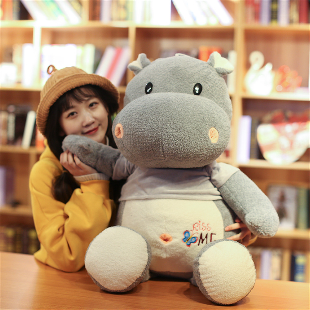 Fancytrader Big Sizes Plush Animals Hippo Toys Stuffed Soft Huge Hippopotamus Kids Doll Pillow Cushion 100cm/60cm