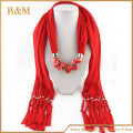 2016 Fashion New Design Classic Long Fruit Grape& Beads Pendant Solid Polyester Winter Warm Scarves