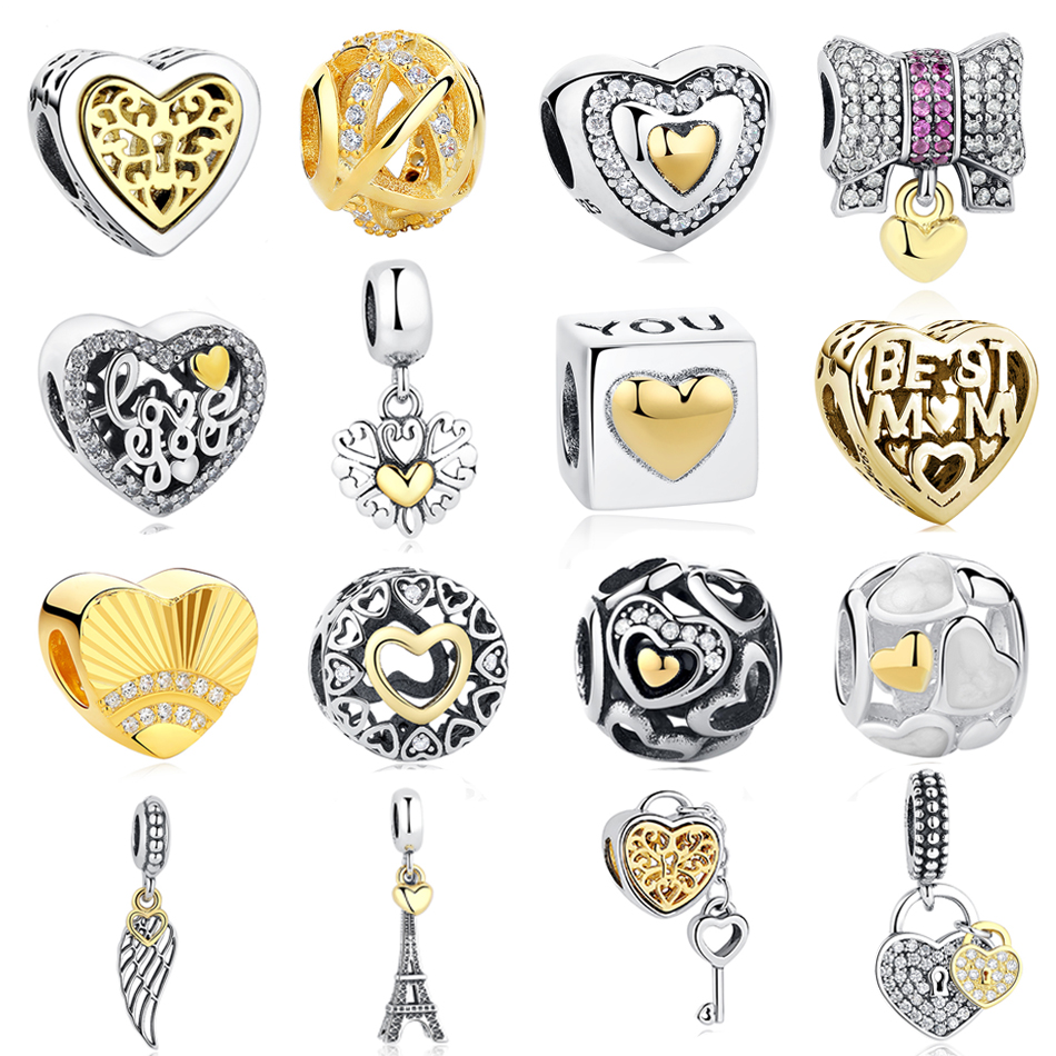 Real 925 Sterling Silver Gold Color Eiffel Tower Wings Love Heart Charm Bead Fit Original Pandora DIY Bracelet Jewelry Making eiffel tower charm bangle