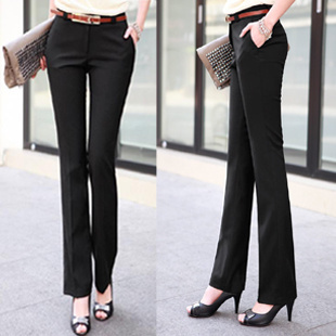 6085c73244a4 2019 Fashion New Women pants straight  flares slim high waist formal  trousers for woman female