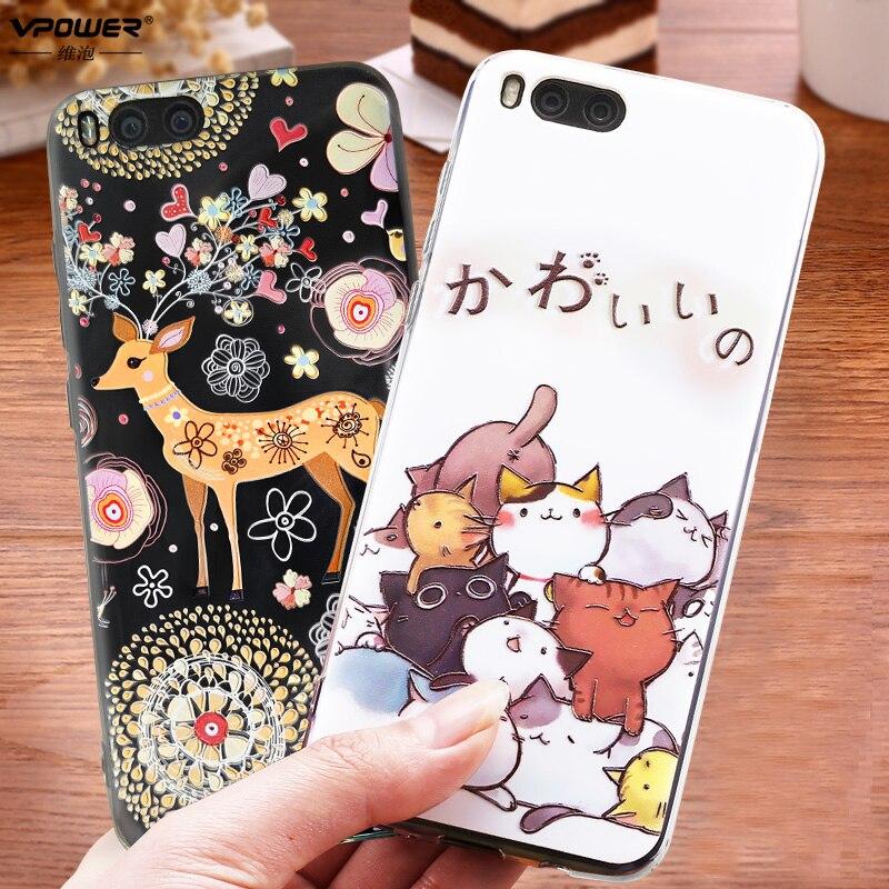 Vpower Xiaomi mi6 mi 6 Case 3D Stereo Relief Painted soft tpu cartoon Cases  Back Covers For xiaomi mi6 +full glass screen film купить на AliExpress 76efd02ceadfb