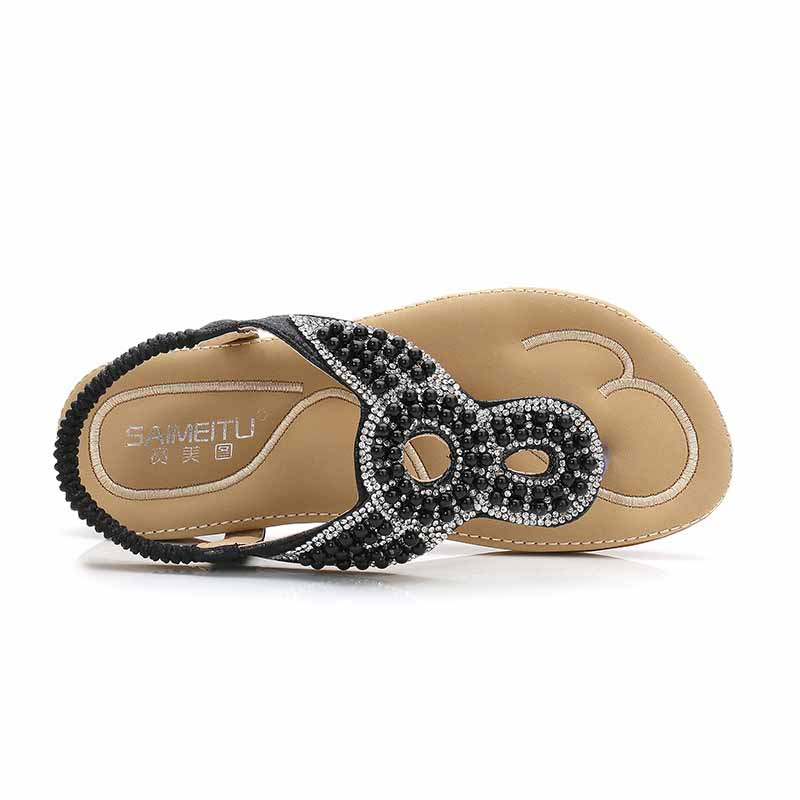 Aidenkid 2019 Summer New Womens Rhinestone Pearl Toe Comfortable Sandals Large Size 41