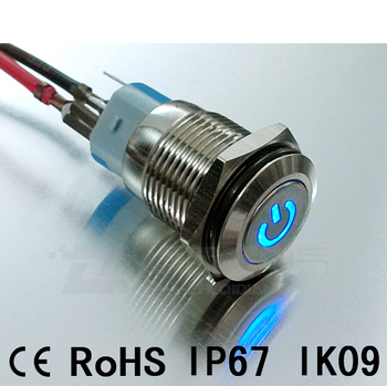 16mm IP67 waterproof Metal button switch, with LED illuminated,self-locking, self-return, CE Rohs, Power On-off model 20pcs/lot