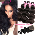 Ali pearl Hair Peruvian Virgin Hair With Closure,Human Hair Bundles With Free/Middle/Three Part Natural Black closure body wave