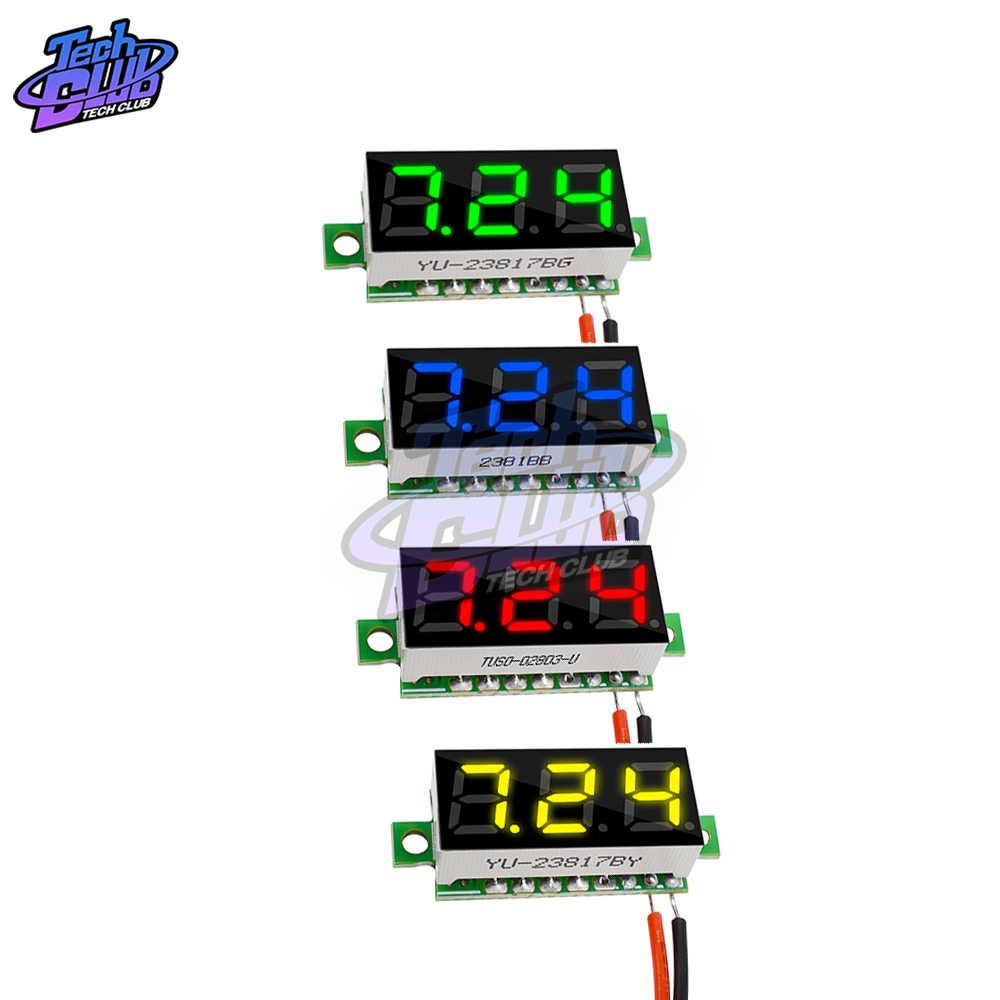 مصغرة الرقمية الفولتميتر جهاز قياس الجهد الكهربائي متر 0.28 بوصة 2.5 V-30 V شاشة led الرقمية الفولتميتر الأحمر الأخضر الأزرق الأصفر