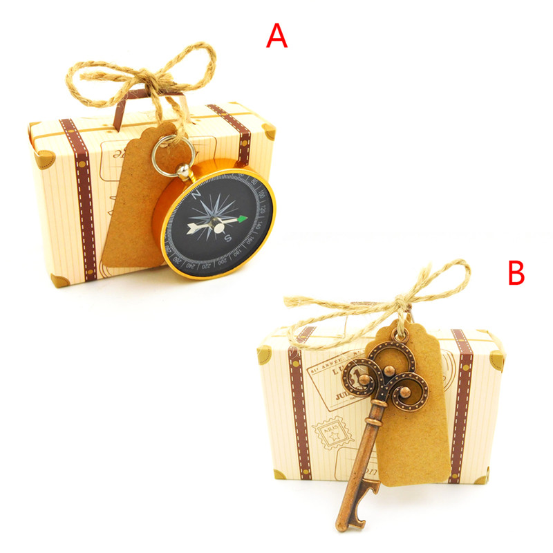 Retro Travel Suitcase Wedding Souvenirs Candy Box With Compass Bottle Opener Party Gift Favor Pendant Beads Earrings Jewelry Box