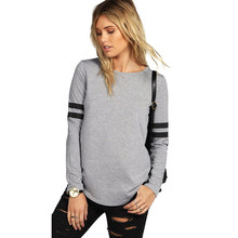 New Womens Casual Stripe Long Sleeve Loose Baseball Style Pullover T-Shirts  Top(China 8230570dbe6b