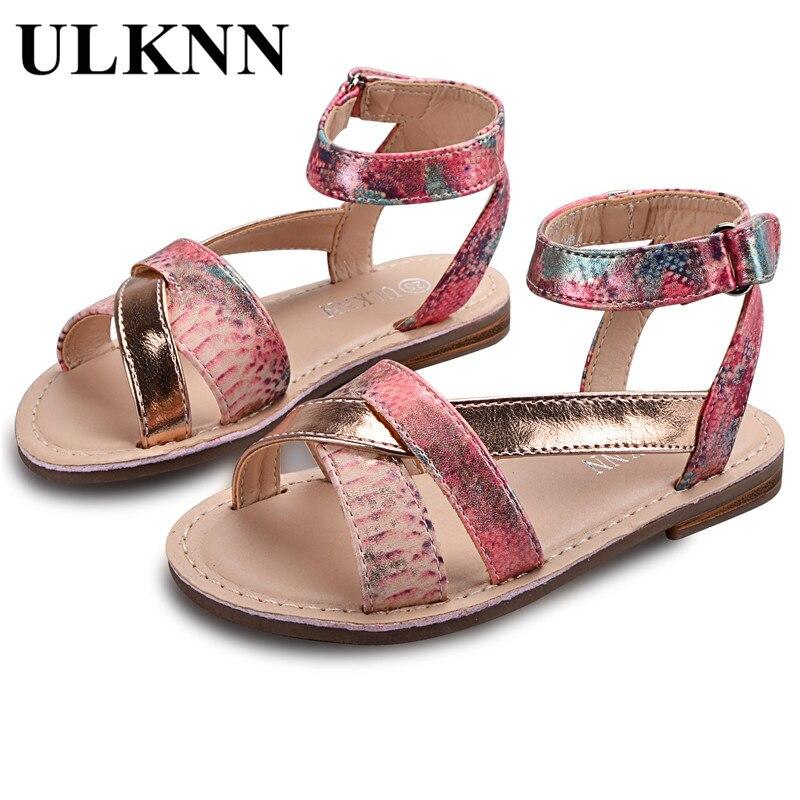 9c95d54fb Ulknn Calzado informal para niños Niñas Sandalias gladiador romano cuero  suave transpirable casual sandalias para el verano playa niños zapatos  femeninos