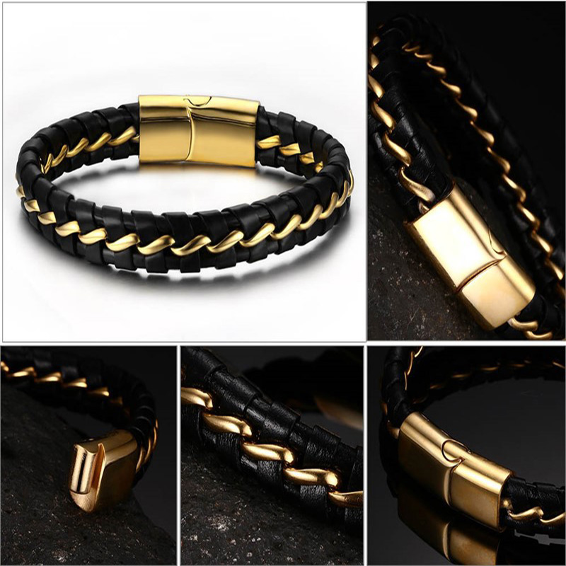2019 wholesale stainless steel leather bracelets mens men bracelet male link chain on hand accessories chains black gold luxury in Chain Link Bracelets from Jewelry Accessories