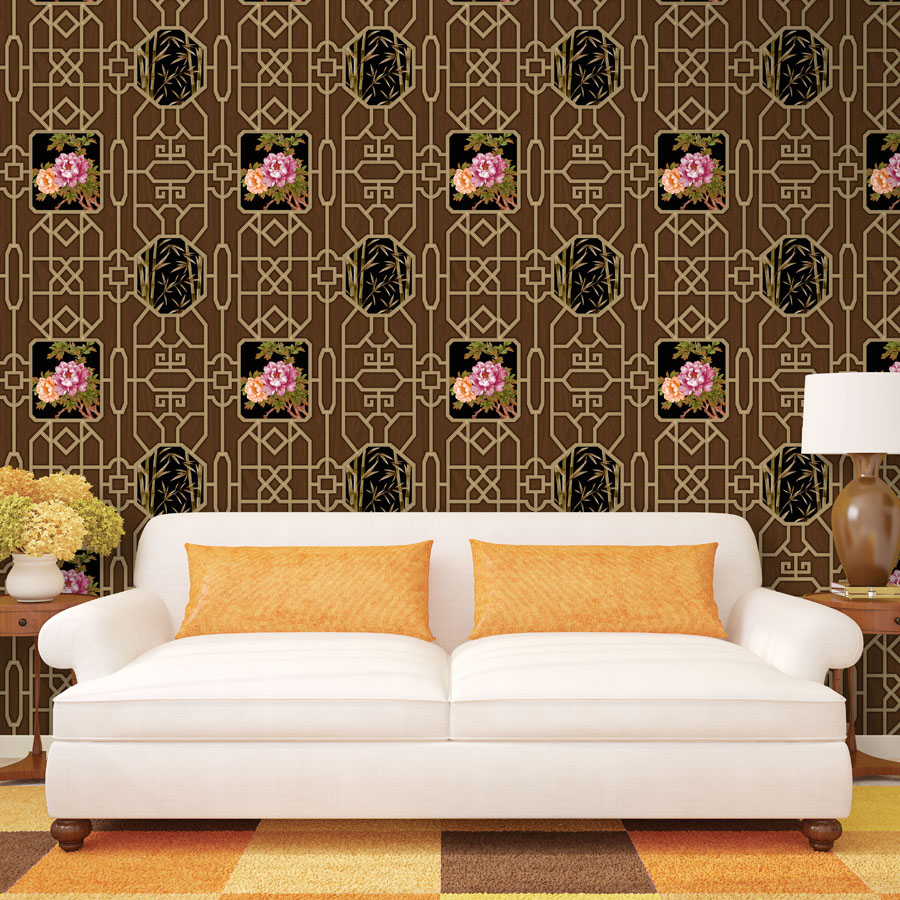 3D Chinese classical floral wallpaper Hollow window grille Living room bedroom sofa background wallpaper 3D mural wallpaper roll