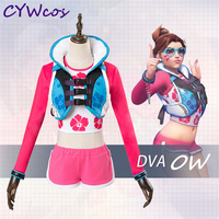Game Cosplay OW d.va Wave Breaker Cosplay Costume Christmas Clothing Women Uniforms D.va Suits Pink Costumes Coat+Shorts