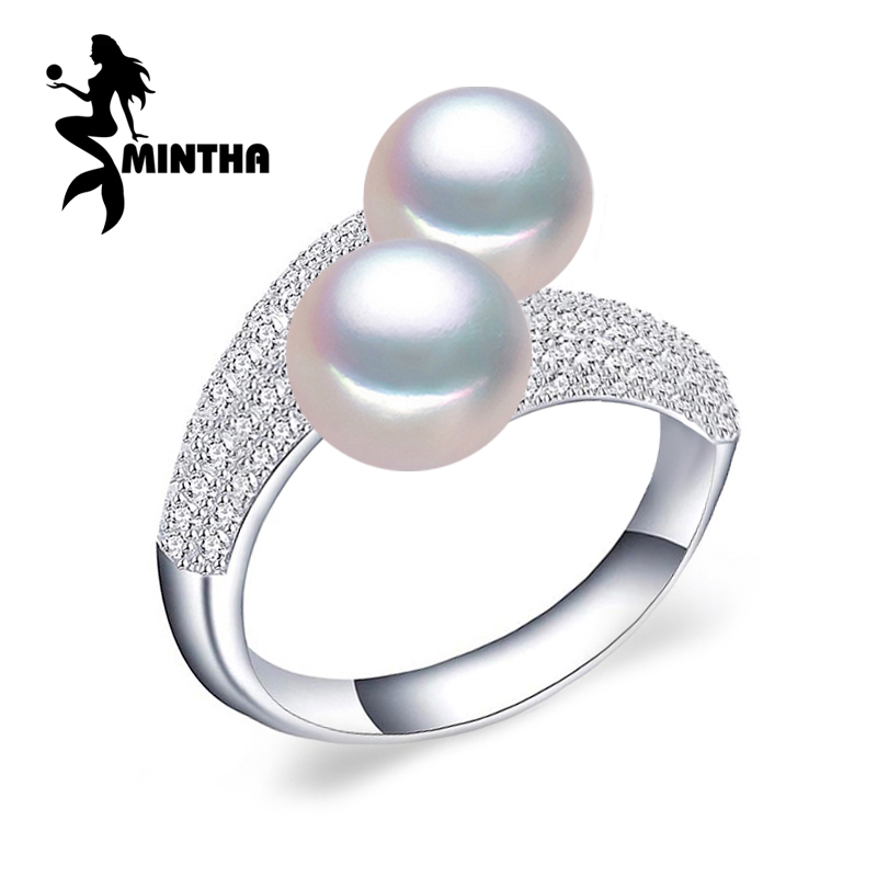 MINTHA Pearl Jewelry,double Pearl rings,Natural Freshwater Pearl rings,925 Silver rings for women charms silver 925 original