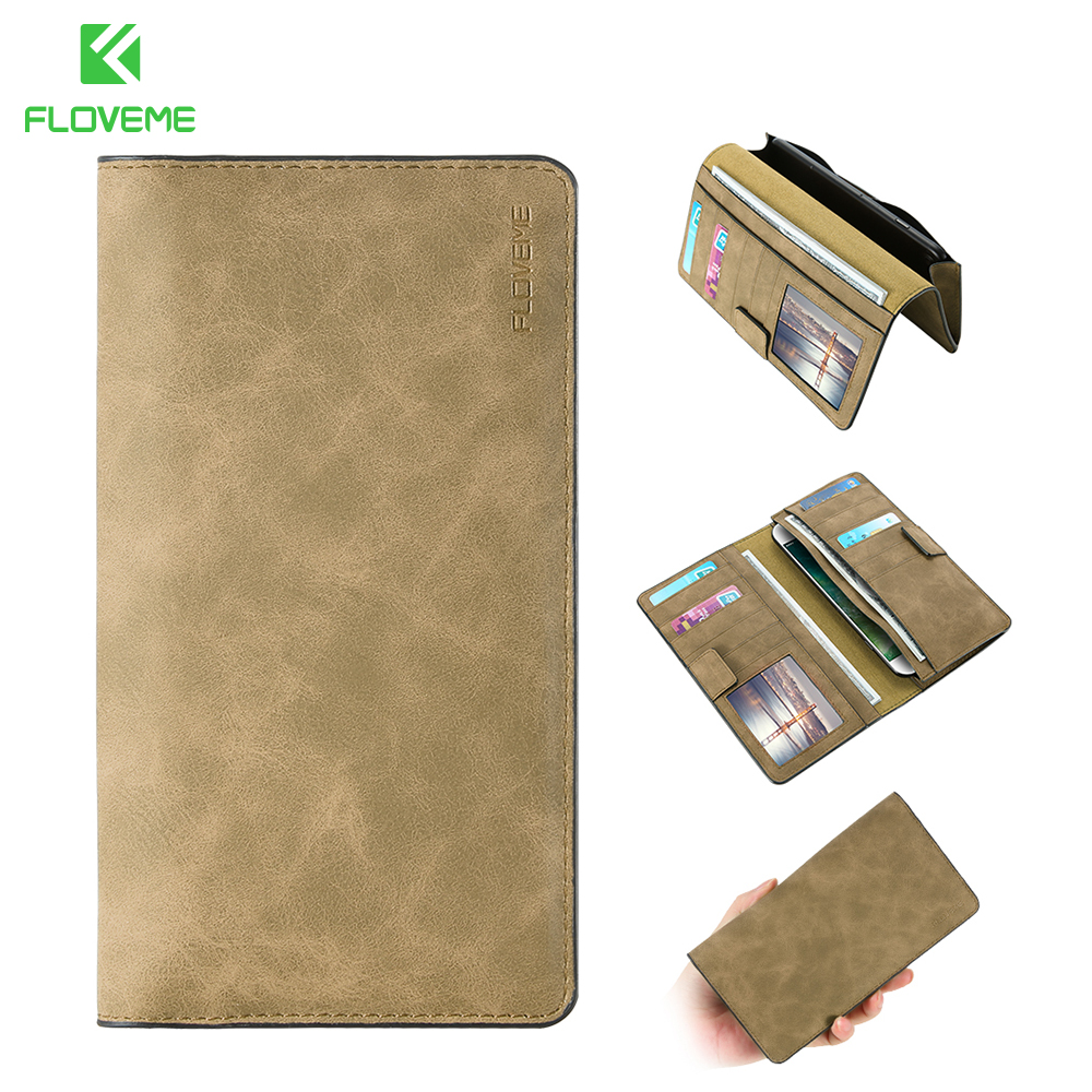 FLOVEME Retro Leather Phone Case For Samsung Galaxy S8 Plus Card Wallet Phone Bag Cases For iPhone 6 7 8 Plus Xiaomi Huawei Case