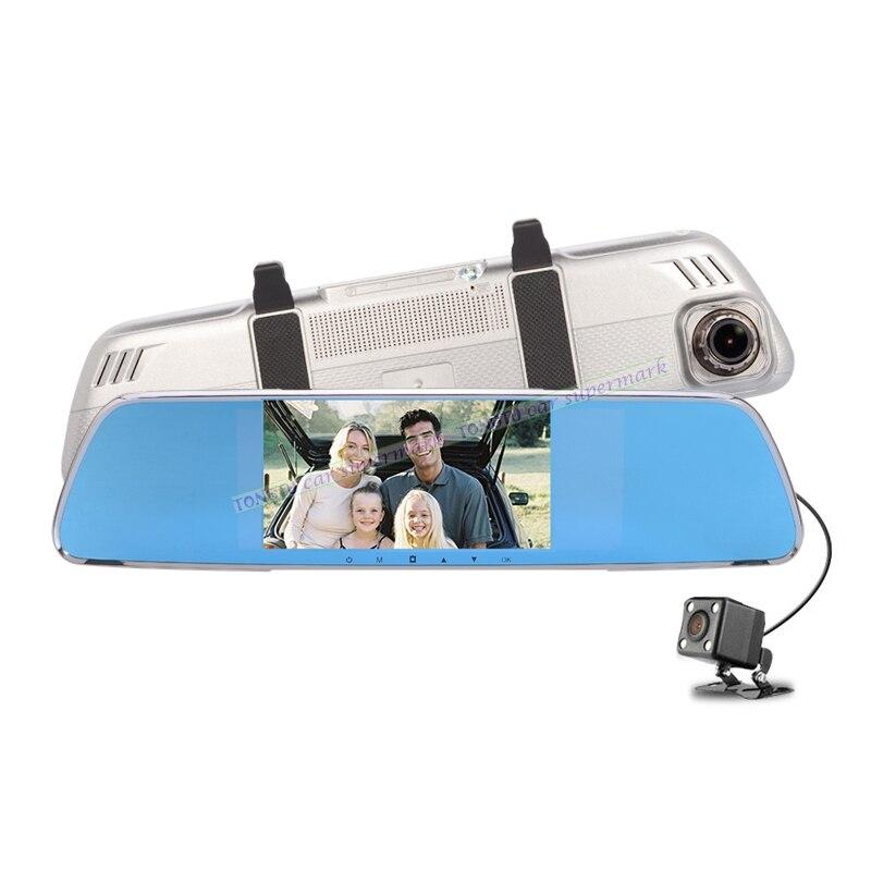 4.3 Pouce HD1080P Double Lentille Voiture DVR Caméra Rétroviseur Auto Enregistreur Vidéo Avec g-sensor/Détection de Mouvement