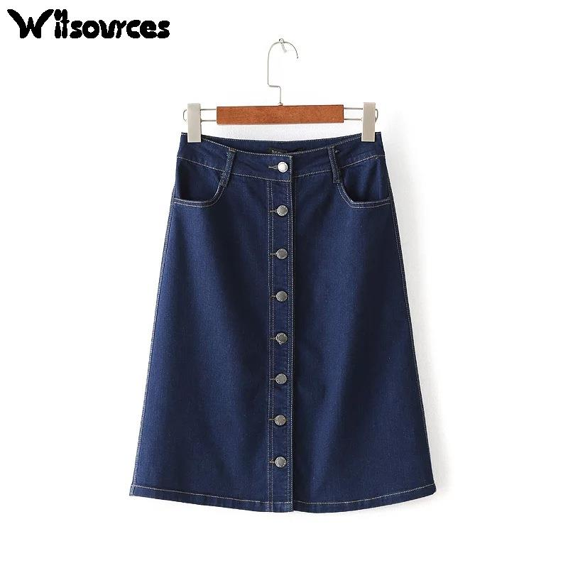 Denim Skirts Women A Line Knee Length Jeans Skirt Promotion-Shop ...