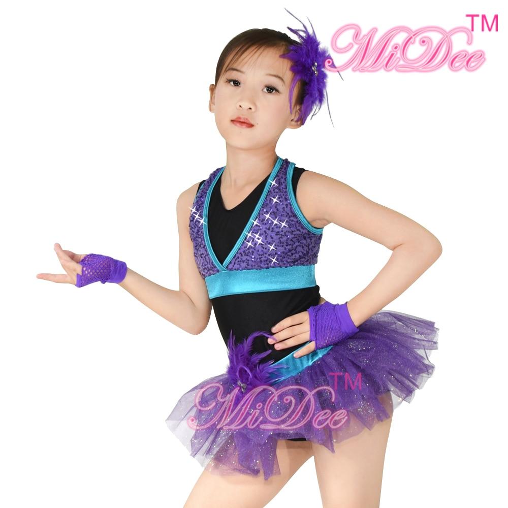 MiDee Jazz tantsukostüüm tüdrukutele Sportlik Vest Glitter Jazz Tantsuvarustus