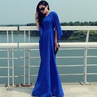 WBCTW Chiffon Dress Summer Style Casual Plus Size 7XL O neck Half Batwing Sleeve Vintage Maxi Long Women High Waist Dresses