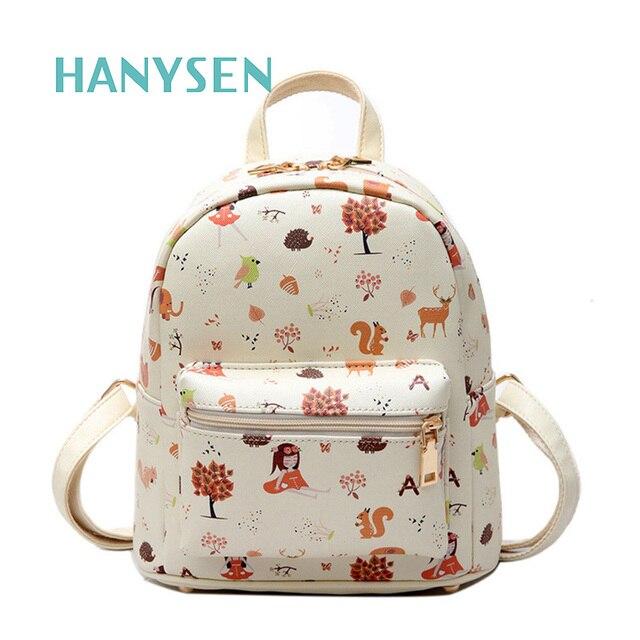2017 Fashion Girl Cartoon Printing Small Backpack PU Leather Children Cute Mini School Bag Preppy Style Ladies Satchel Small Bag