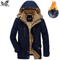 ブランド冬のジャケットの男性サイズ 5XL 6XL 暖かい厚手ウインドブレーカー高品質フリース綿が詰めパーカー軍事オーバーコート服