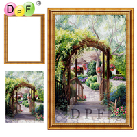 DPF Diamond Embroidery Rural Scenery Diamond Painting Cross Stitch With Frame Full Round Diamond Mosaic Kit