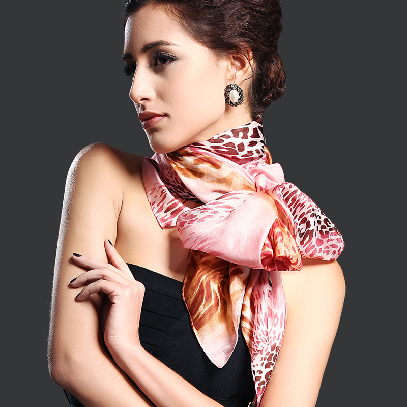 2016 New Design Women Leopard Print Pure Silk   Scarf   180*110cm Brand Mulberry Silk Design Long   scarf     Wraps   For Autumn,Winter