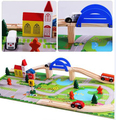 40pcs/set Assembling wooden train track set city building blocks Montessori educational toys for  Preschool children kids