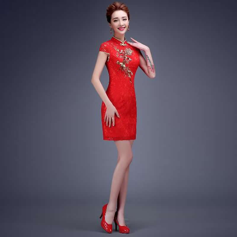 Robe chinoise rouge col