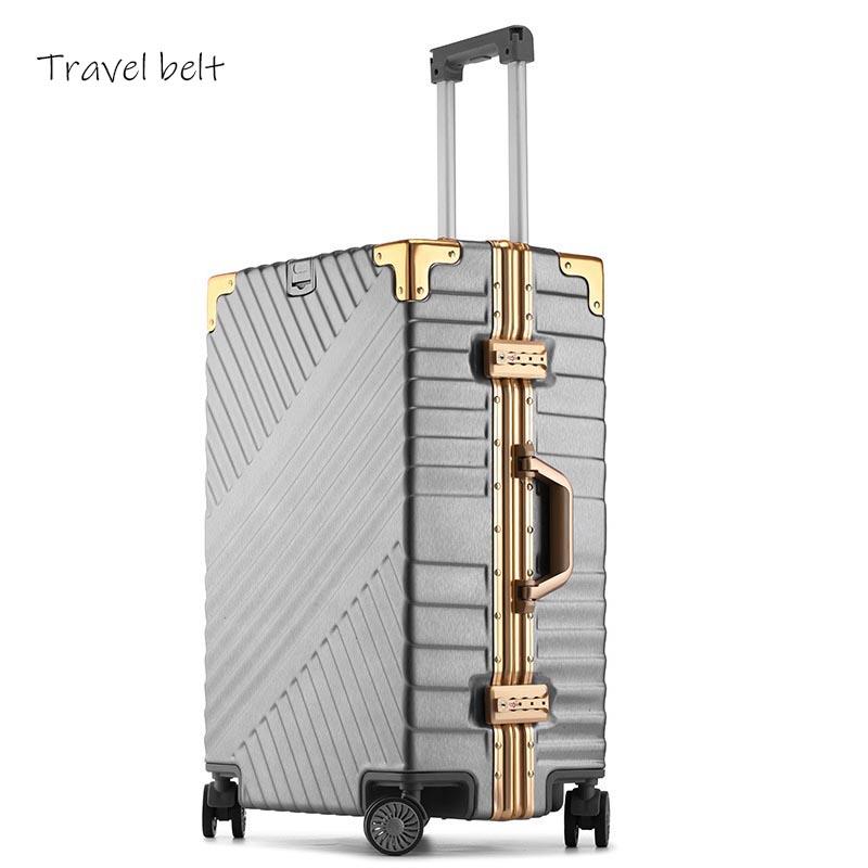 Travel Belt 100% Aluminum Frame 20 Inch Rolling Luggage Spinner 24 Inch Brand Men Travel Bags Women Password Suitcase Wheels