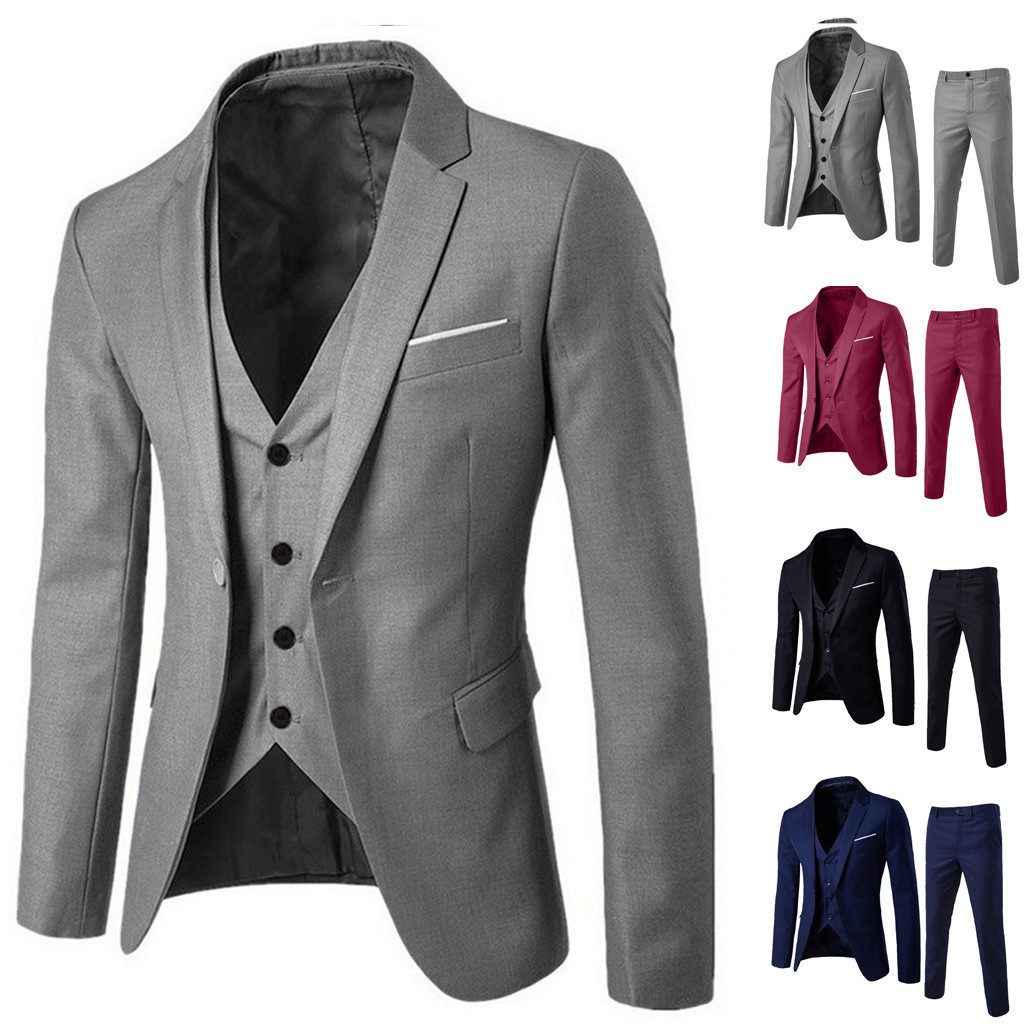 2019 Men's Suit Slim 3-Piece Suit Blazer Business Wedding Party Jacket Vest & Pants Costume Homme Mariage #17.9