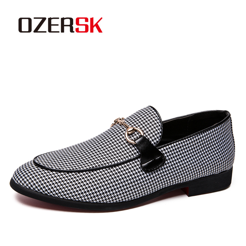 OZERSK Brand Size 38~47 Fashion Houndstooth Men Dress Shoes Comfortable High Quality Formal Business Shoes Wedding Party Shoes