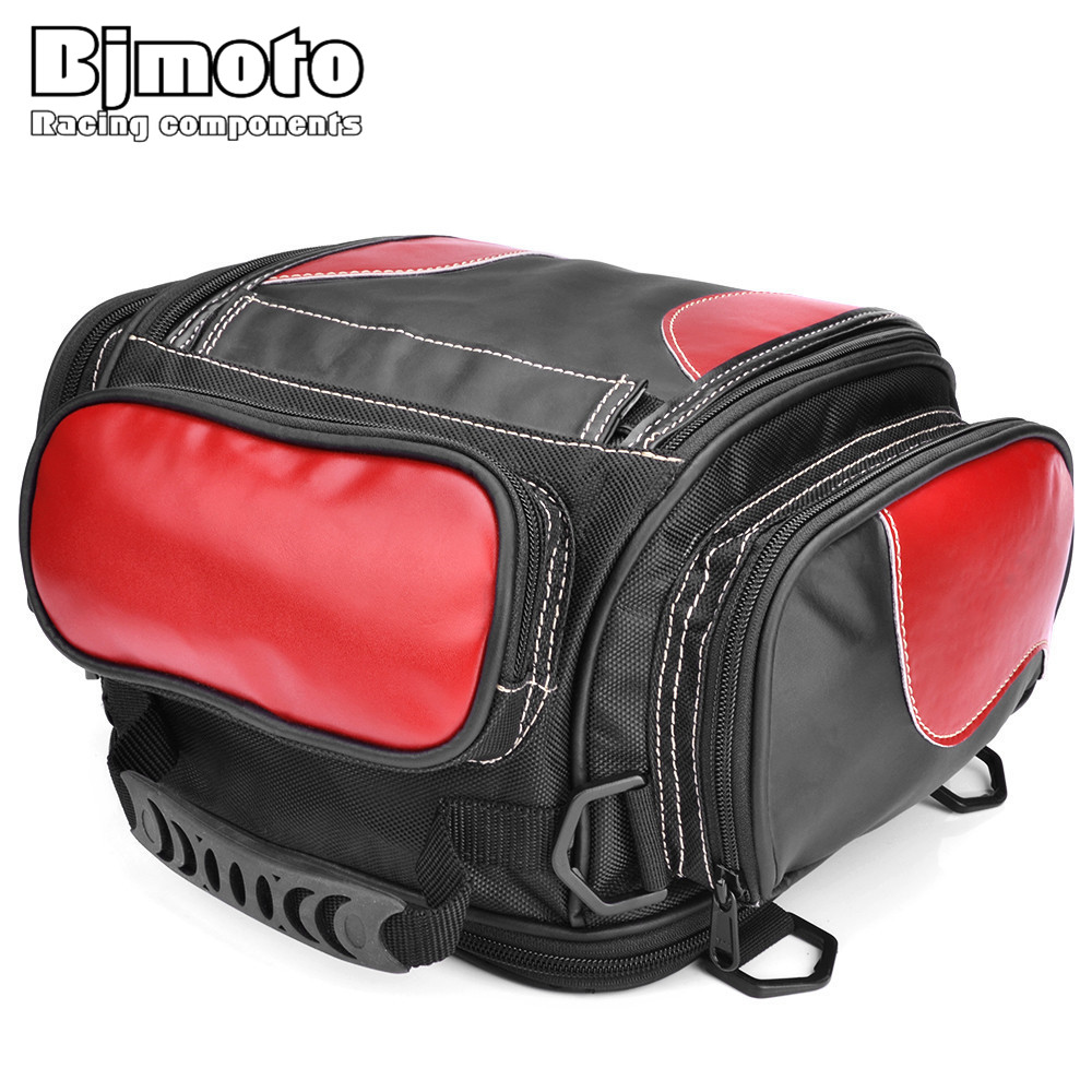 BJMOTO Universal Motorcycle Luggage Bag Saddle Bags Motorbike Racing Backpack Helmet Tank Bag Travel Tail Bag Black with Red cucyma motorcycle bag waterproof moto bag motorbike saddle bags saddle long distance travel bag oil travel luggage case