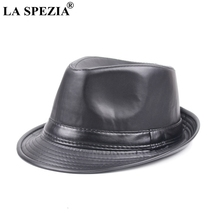 LA SPEZIA Del Cuoio Del Faux Del Cappello di Fedora Uomo Nero Casual Jazz  Caps Inverno 1678e1132c95
